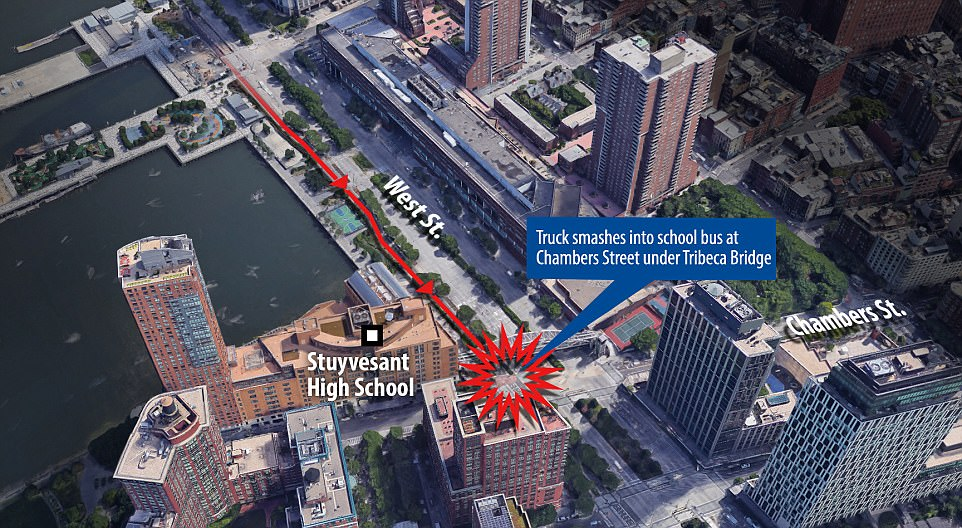 Saipov turned on to the bike track at Houston Street then drove for 17 blocks southbound. The pathway leads from Greenwich Village down to Tribeca. Saipov drove the full distance, only coming to a stop when he hit a school bus at Chambers Street