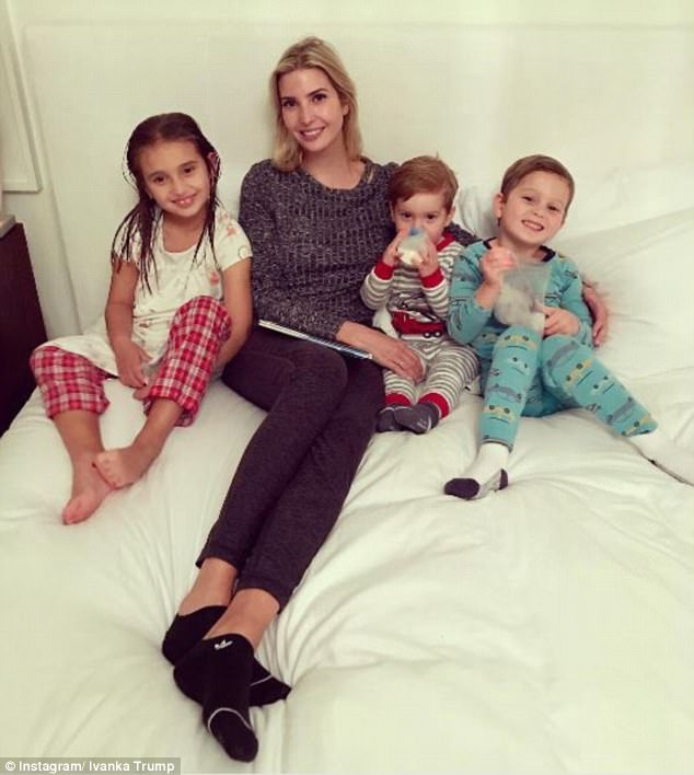 Last hugs: Before leaving, the 36-year-old shared a photo of herself with her three kids, which appears to have been taken the night before while reading a bedtime story
