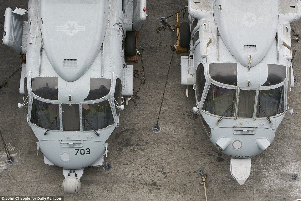 The ship operates four squadrons of F/A-18 Hornet and Super Hornets, one squadron of EA-18G Growlers, and Seahawk helicopters for transportation and maritime patrols
