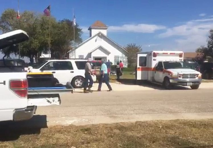 The shooting happened at the First Baptist Church of Sutherland Springs (pictured), where around 50 people usually attend service, according to local reports