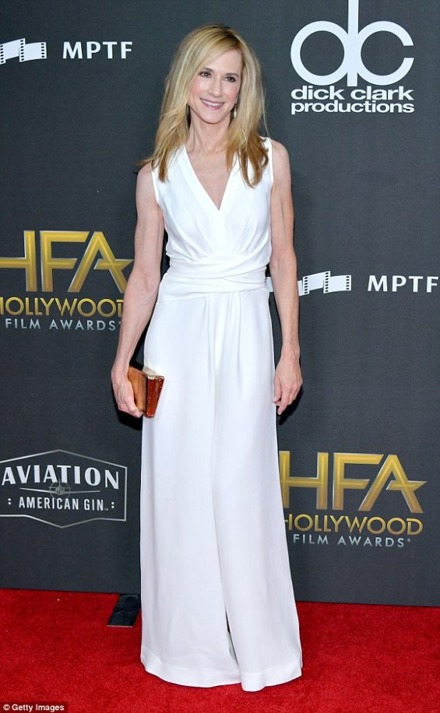 Clbady: Hollywood star Holly Hunter, 59, was simply gorgeous in a white gown slightly gathered at the waist and wearing her blonde hair loose with a touch of  blush and pink lip gloss