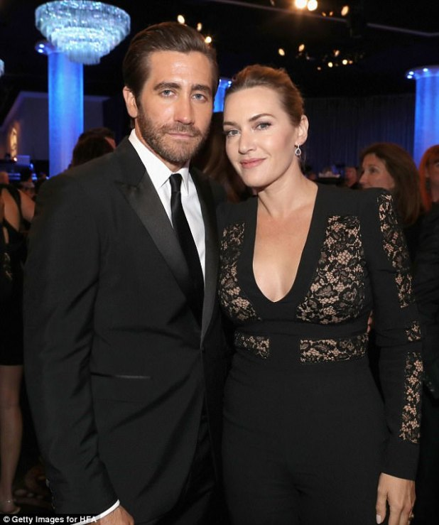Pals: Kate posed for photos inside the awards show at the Beverly Hilton Hotel with actor Jake Gyllenhaal who was dapper in a tuxedo-style suit and black tie
