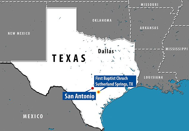 The shooting took place at the church, which is located about 30 miles from San Antonio.  Sutherland Springs is a community of about 400 people