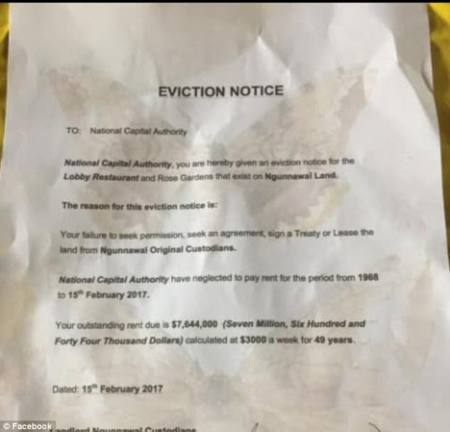 The group issued the National Capital Authority with an eviction notice on Sunday morning