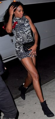 Night out: Venus was seen stepping out for her sister's pre-wedding girls' weekend in a mini dress, black low boots, and a small crossover bag