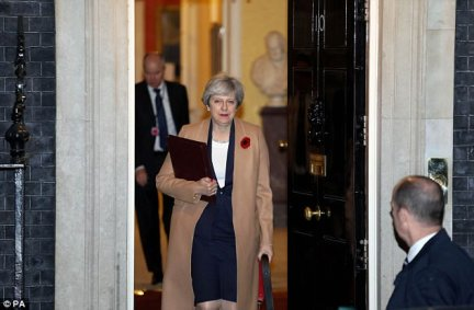 Theresa May (pictured leaving No 10 last night) summoned Ms Patel for a dressing down yesterday but has not sacked the minister despite the extraordinary revelations