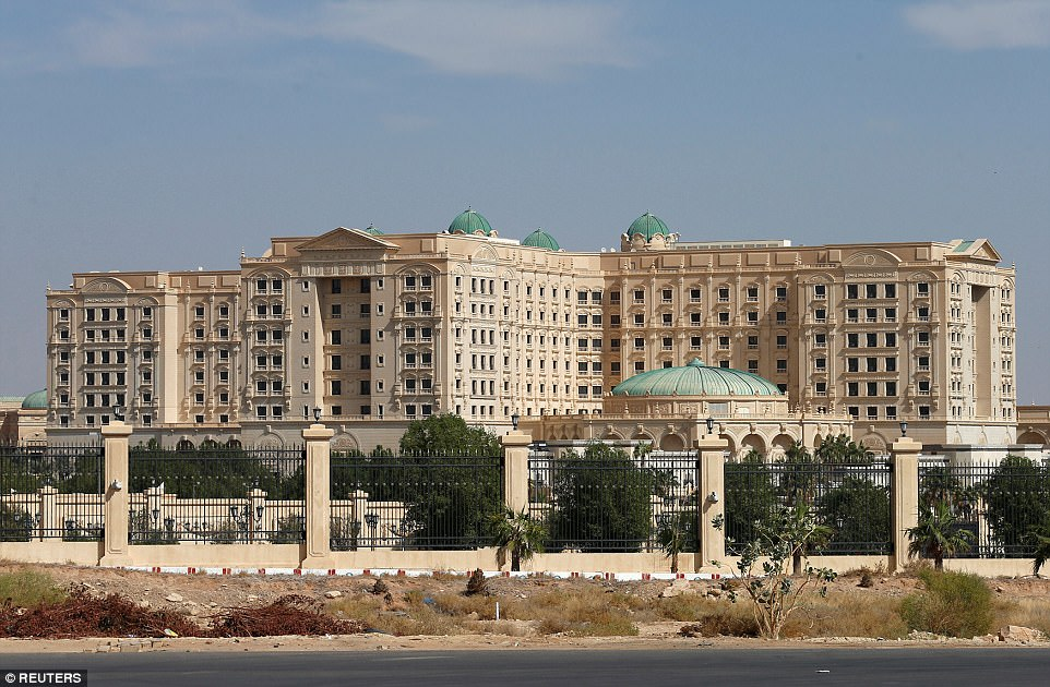 Turned into a 'prison': The Ritz Carlton in Riyadh was emptied of guests on Saturday night as the round-up of allegedly corrupt ministers and princes got under way