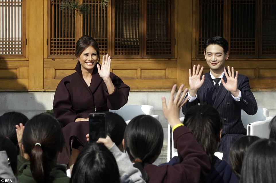 Melania sat with Choi Min-ho, a member of South Korean boy band Shinee, as they spoke with to South Korean students