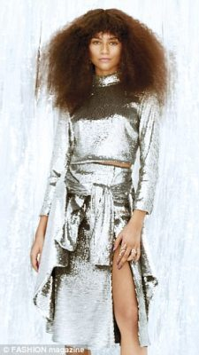 Metallic: Hairstylist Kim Kimble frizzed out the Spider-Man: Homecoming stunner's natural curls and make-up artist Sheika Daley kept her glowing complexion minimally made up