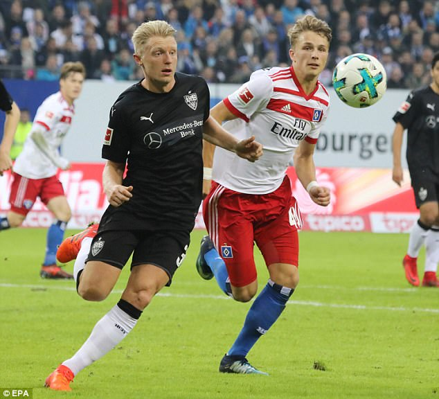 The 17-year-old striker (right) has already made an impact in the Bundesliga, scoring twice
