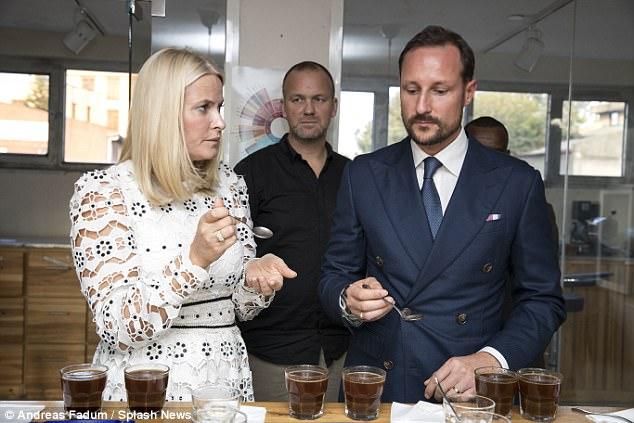 The pair looked quizzical as they sampled the different coffees during the workshop