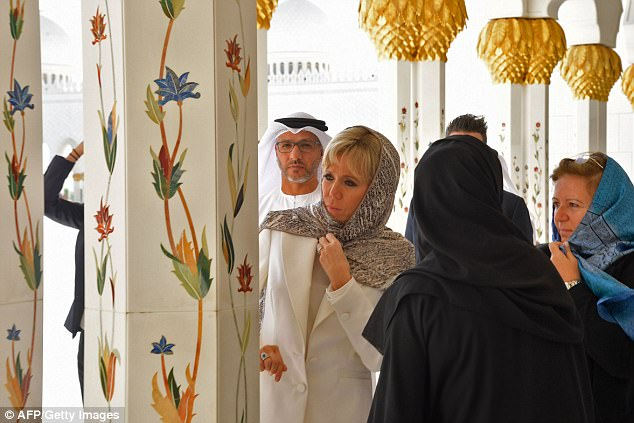 Mrs Macron admiring the historic site, which is one of the biggest tourist attractions in the UAE