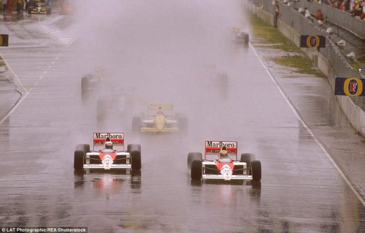 If the glorious Adelaide sunshine summed up the McLaren camp at the end of 1988 then the torrential downpour a year later was rather fitting of the mood within the team. Granted, Prost was champion and McLaren were constructors champions but a bitter feud between Senna and Prost had hit boiling point as the Brazilian leads his team-mate from the front at the start