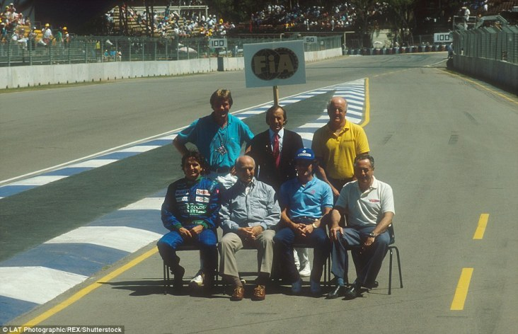 The 1990 Australian Grand Prix was the 500th Formula One race and was marked with a photograph featuring the sport's world champions including (clockwise from top left) James Hunt, Jackie Stewart, Denny Hulme, Jack Brabham, Ayrton Senna, Juan Manuel Fangio and Nelson Piquet. Alain Prost was among those absent having not wanted to be within Senna's proximity