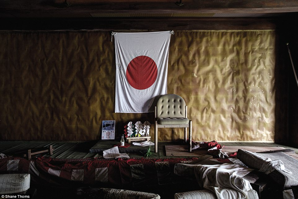 The ground floor of an abandoned hotel in Nikko, Tochigi Prefecture: This former Onsen hotel overlooked a gushing river in a once bustling tourist area. Visitor numbers dwindled in the late 1990's/early 2000's due to a souring economy