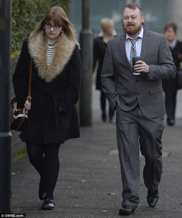 Meechan told Airdrie Sheriff Court he only intended the video to be seen by a small group of friends on his YouTube account. He is pictured outside the court with his girlfriend, Miss Kelly