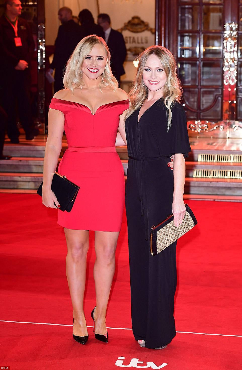 Double trouble: The 30-year-old star beamed as she cosied up to fellow Emmerdale starMichelle Hardwick at the bash