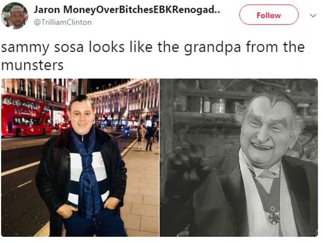 """""""Sammy Sosa se parece al abuelo de los munster"""", dijo el usuario Jaron Montana"""