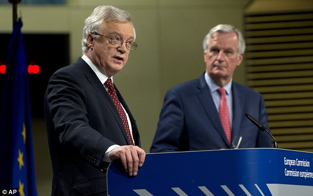 David Davis and Michel Barnier in Brussels on Friday following the sixth round of Brexit talks. They ended with MrBarnier demanding Britain finds more money for the Brexit divorce bill within two weeks in order to move on to trade talks by the end of the year