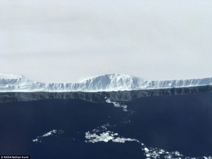The edge of A-68, the iceberg the calved from the Larsen C ice shelf. Nasa took this image in November during a flight that was part of its IceBridge program, which will help researchers understand the bedrock under the ice