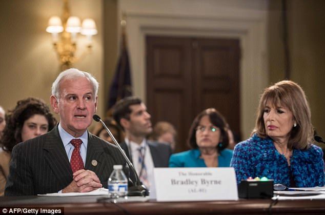 "Republican Representative from Alabama Bradley Byrne speaks during a House Administration Committee hearing on ""Preventing Sexual Harassment in the Congressional Workplace"" on Capitol Hill in Washington, DC, on November 14, 2017 as Democratic Representative from California Jackie Speier looks on"