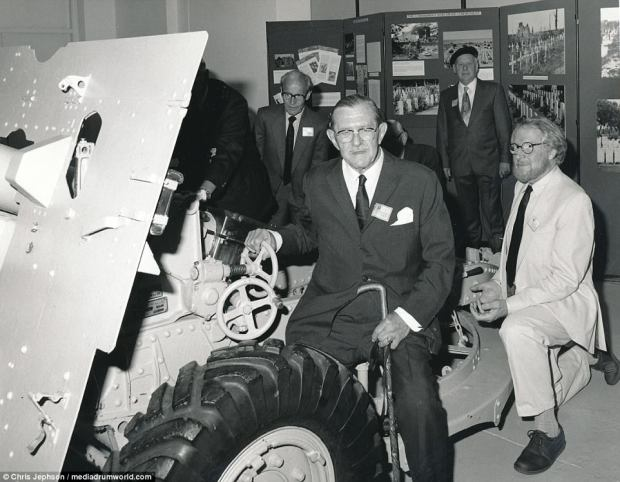 Major F.R. Jephson is pictured years later with a 25-pounder Quick Firing Gun, Mark II. It was the standard British and Commonwealth field gun of the Second World War. This example, a Mark II gun on a Mark I carriage, served with 11 Field Regiment, Royal Artillery in North Africa. On July 2, 1942, it helped to halt a major German advance at Ruweisat Ridge, where the Regiment suffered 25 per casualties during the fiercely-fought action
