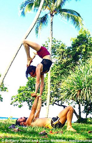 Brittany and Connor often show off their acrobatic skills on their Instagram pages