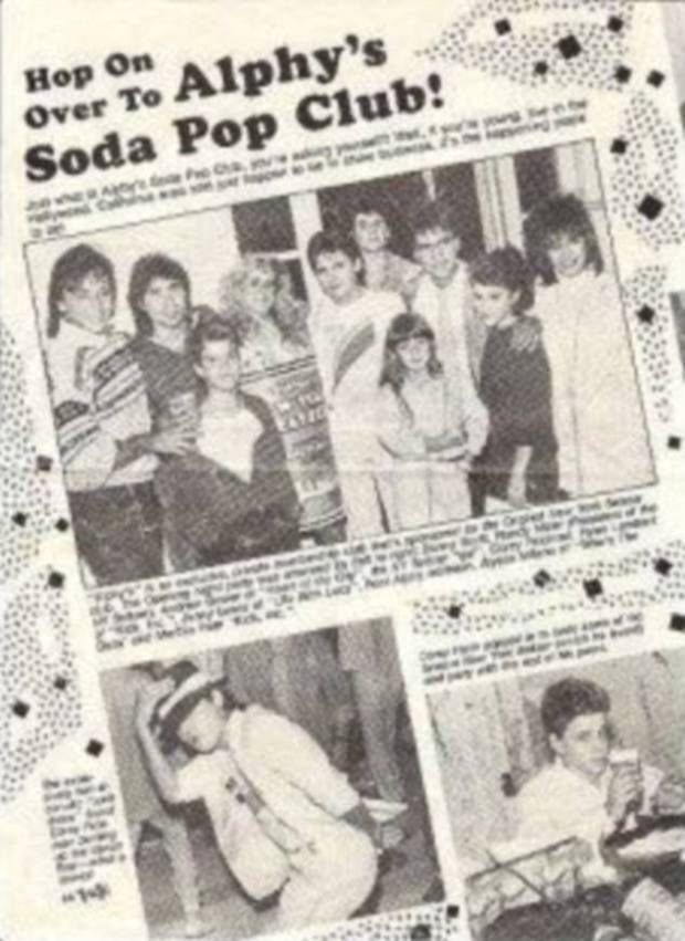 Feldman is pictured above in the top photo, center, in a white top, in what appears to be a story about Alphy's Soda Pop Club