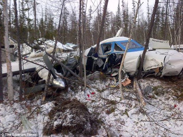 Tragedy: The plane came down in woodland one mile short of Nelkan airport in Khabarovsk, killing six passengers and the crew
