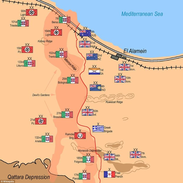 Plan of attack: How the forces were deployed on the eve of the battle in 1942. By October, General Montgomery had amassed an army of nearly 200,000 men, more than 1,000 tanks, around 1,000 artillery pieces and more than 500 aircraft
