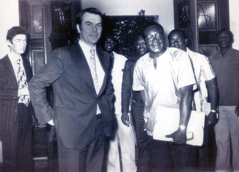 He headed to Ghana to teach in 1958, where he was influenced by president Kwame Nkrumah. Mugabe said he went to the country as an 'adventurist' because he wanted to see what an independent African state looked like (Ghana was the first nation in the continent to win freedom from a European power). Pictured: Mugabe withBritish Foreign Secretary David Owen