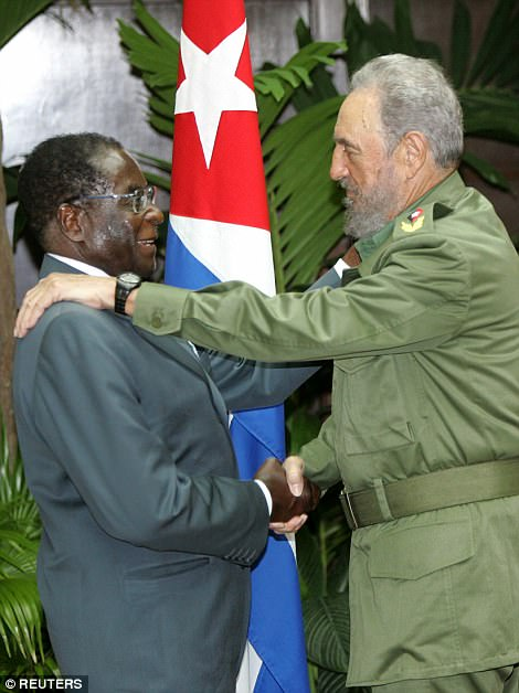 Later in his rule, he used blistering rhetoric to blame his country's downward spiral on Western sanctions, though they were targeted personally at Mugabe and his henchmen rather than at Zimbabwe's economy. Pictured: Mugabe with his old hero Fidel Castro in 2005