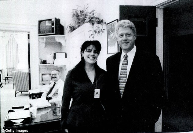 The 71-year-old politician has been followed throughout his years in public office with allegations of sexual misconduct, reaching its peak with the Monica Lewinsky scandal. Pictured: Clinton with White House intern Lewinsky in 1998