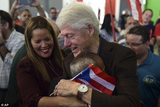 President Clinton, here with residents at the William Rivera Betancourt Vocational School which was turned into an emergency shelter in Canovanas, Puerto Rico, is facing accusations of sexual assault from four unidentified women, highly placed Democratic Party sources told author Ed Klein