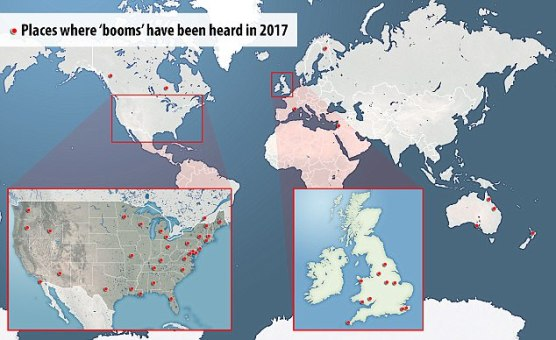 Mysterious boomshave been reported 64 times this year, in locations including Michigan, Lapland, St Ives, Swansea and Yorkshire. Incidents are becoming more frequent according to some reports.