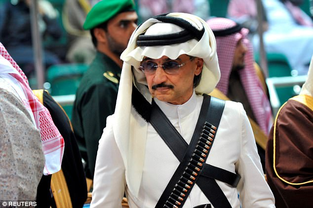 Highest profile prisoner: Prince Alwaleed bin Talal was hung upside to 'send a message' after being lured to a meeting with the crown prince. He is worth at least $7 billion