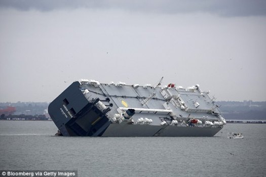 Experts fear hackers could cause a ship to capsize. Pictured:MV Hoegh Osaka ran aground in the Solent. There is no suspicion that the ship's loading plans were altered or hacked