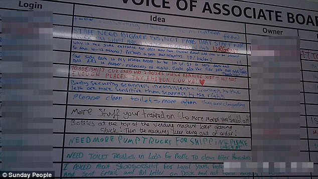 This board showed some of the staff's grievances at the Essex warehouse, including complaints about the 'disgusting' toilet