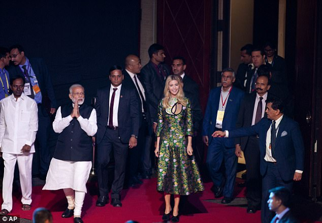 Indian Prime Minister Narendra Modi, second left, arrived with Ivanka for the opening of the Global Entrepreneurship Summit