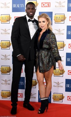 Sparkling sensation: Looking as loved-up as ever, was Gabby Allen and Marcel Somerville who were putting on a playful display as she sported a scanty sequinned shirt dress and he opted for a slick tuxedo