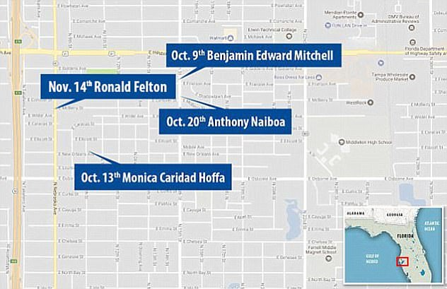 Each of the four victims was killed but not robbed while they walked along at night within a half-mile are of the Seminole Heights neighborhood