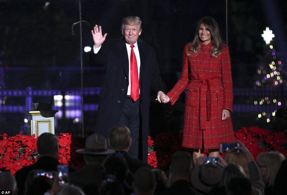 Ho Ho Ho: President Donald Trump and first lady Melania Trump kicked off the holiday season in the nation's capital Thursday evening by lighting the National Christma