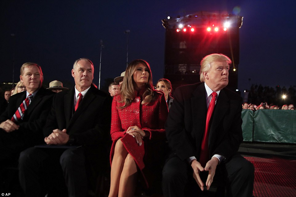 To watch performances for the evening, the president and first lady were joined by Interior Secretary Ryan Zinke (second left)