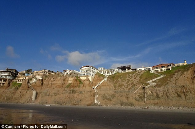 Thomas' house is perched on a 120-foot bluff which looks over the Pacific Ocean. A large four-bedroom vacation property at the complex, can be rented for as little as $159 per night