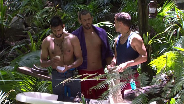 Drama: Dennis, Amir Khan and Jamie Lomas have been accused by viewers of'bullying' their fellow campmate, comedian