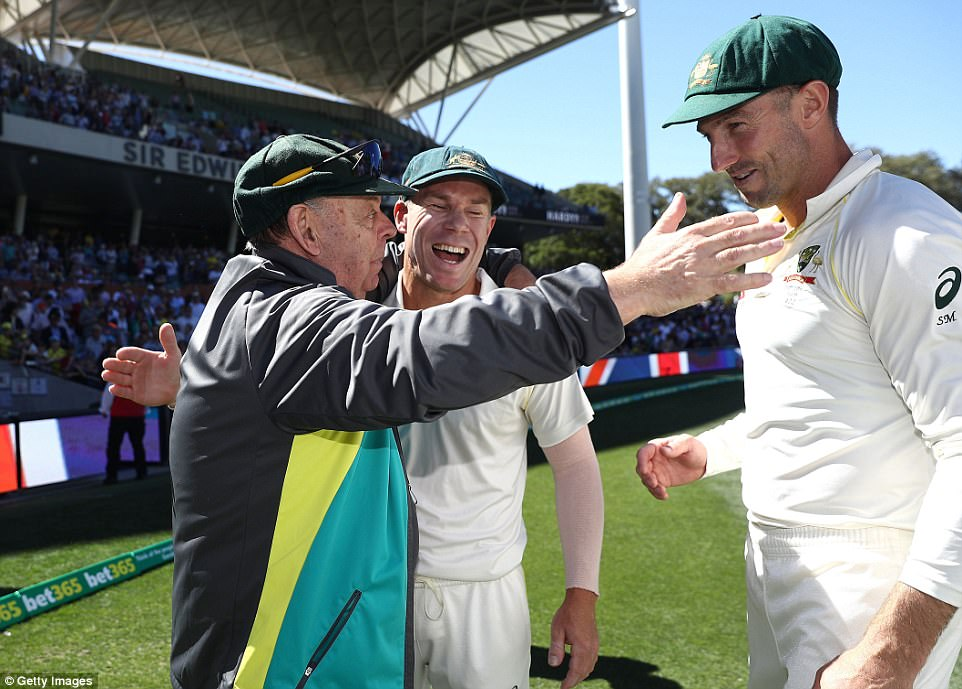 David Warner and Shaun Marsh celebrate victory in the second Test with mascot Barry 'Nugget' Rees on Wednesday
