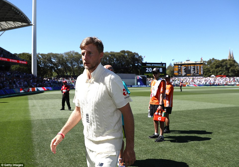 Joe Root, meanwhile, looks dejected after his side lost six wickets for 51 of the 178 runs they needed on the final day