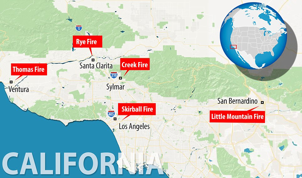 The Thomas Fire, Creek Fire and Rye Fire were joined on Tuesday by the San Bernardino Fire. On Wednesday morning the Los Angeles brush fire - dubbed the Skirball Fire - was reported to emergency services. By the afternoon it hit Bel Air