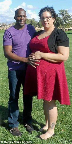 Expecting: Virginia and husband Victor while she was pregnant with the quadruplets