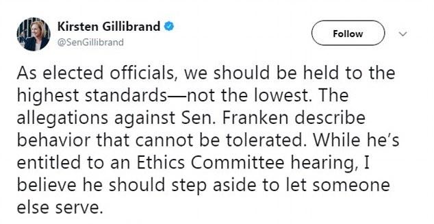 TWEET STORM: A series of Sen. Al Franken's Democratic colleagues called on him to resign Wednesday